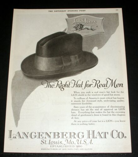 """1919 OLD MAGAZINE PRINT AD, LANGENBERG, LION HATS, """"THE RIGHT HAT FOR REAL MEN""""!"""