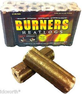 36 x Burners Fire Logs Eco Heatlogs Wood Briquettes Burner Fuel Heat Firewood
