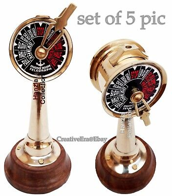 "6"" Antique Brass Ship's Engine Order Telegraph Nautical Decorative Set of 5 Pic"