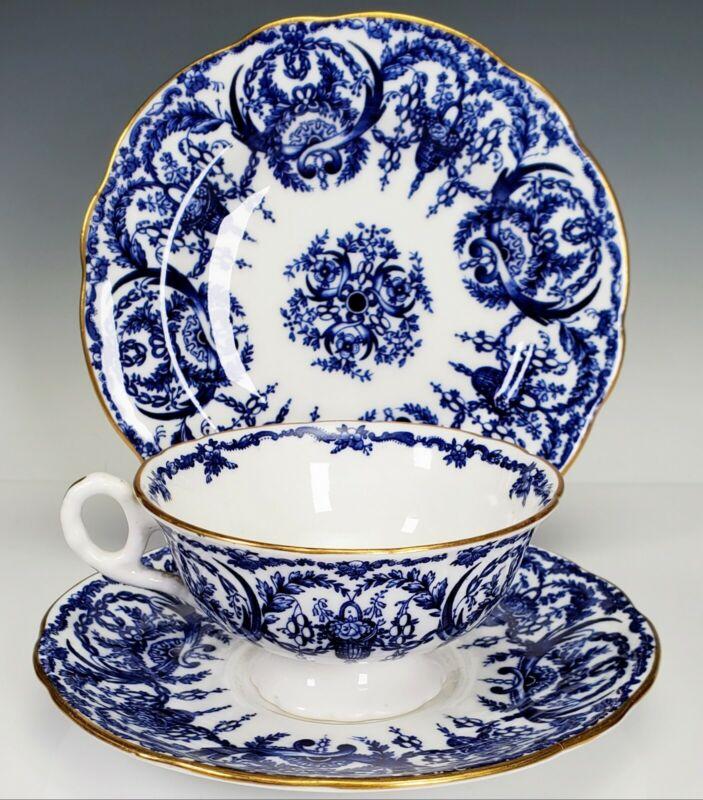 Coalport England Blue & White Teacup tea cup Saucer Dessert Plate Trio