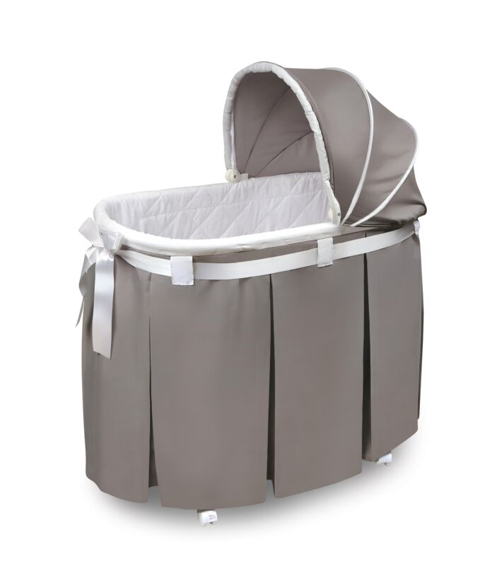 Wishes Oval Bassinet - Full Length Skirt - Gray Bedding