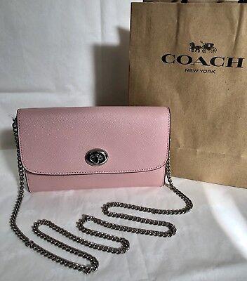 - NWT Coach F21696 Turnlock Chain Crossbody Wristlet Clutch Purse Blush Pink $250