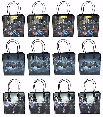 12x Batman Vs. Superman Birthday Party Favors Goody Loot Gift Candy Bags  - Superman Party Decorations