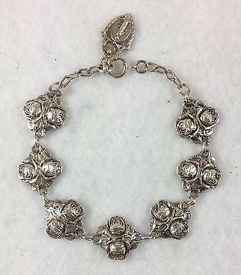 HMH Religious Double Rose Bud Patron Saint Solid Sterling Silver Bracelet