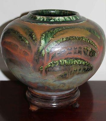 "California RAKU Art Pottery Vase, Controlled Glaze Design, Signed ""Martin"""