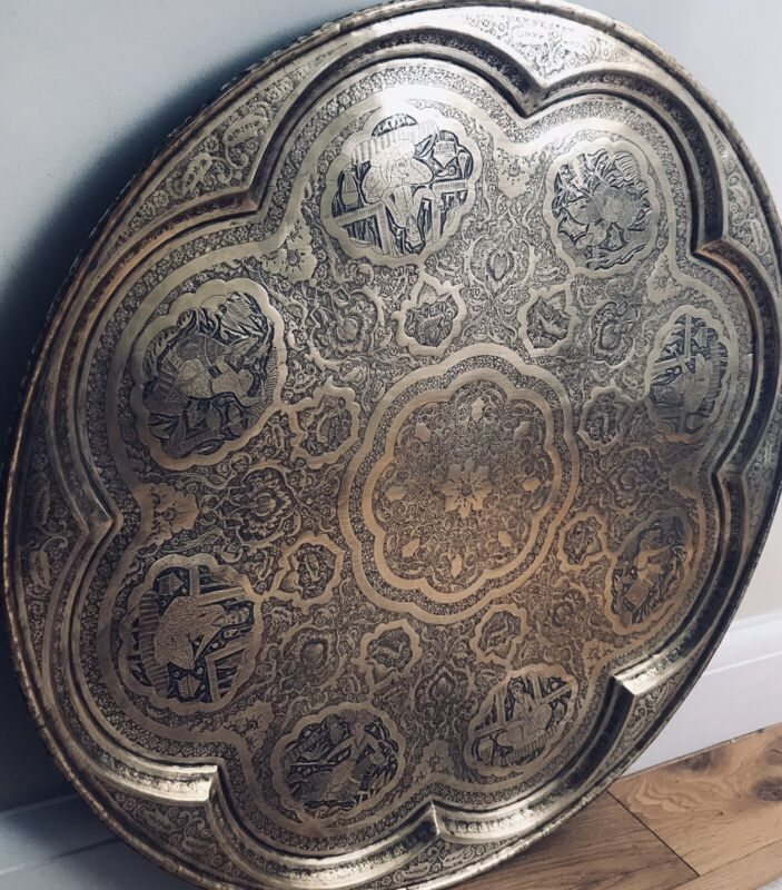 """Hammered Middle Eastern Persian Serving Tray Handmade Inlaid Copper 19"""" HEAVY"""