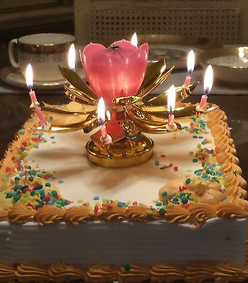 1 Golden Lotus Flower & 1 Golf Trophy Amazing Birthday EXCITING CANDLES