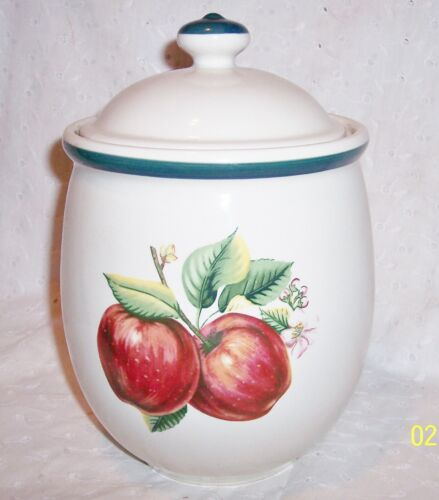 """COOKIE CERAMIC JAR APPLE PRINT 9""""  BY CASUALS- sold as is"""