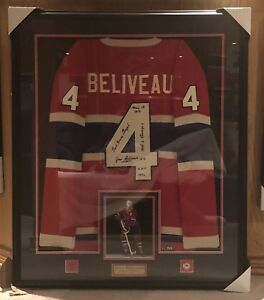 Jean Beliveau Signed Framed Wool Jersey