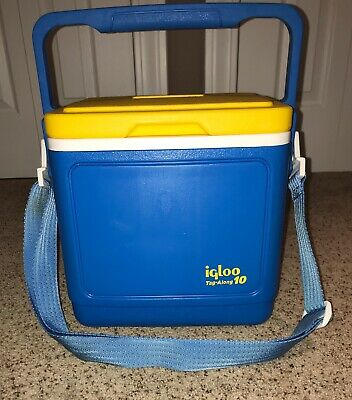 Igloo Tag Along 10 Cooler 1992 Carry Strap Blue Yellow Lid with Cup Holders EUC!
