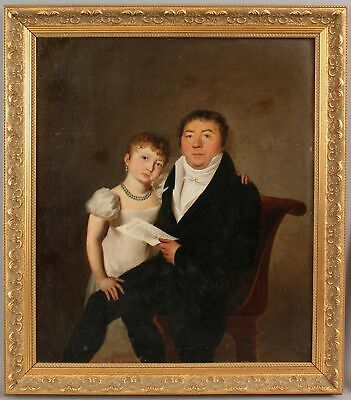 19thC Antique American Empire Period Portrait Oil Painting, Father & Daughter NR