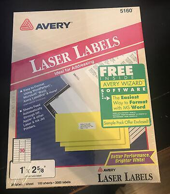 Avery 5160 Laser Labels Sealed Pack 12 58 3000 Labels Total Nos