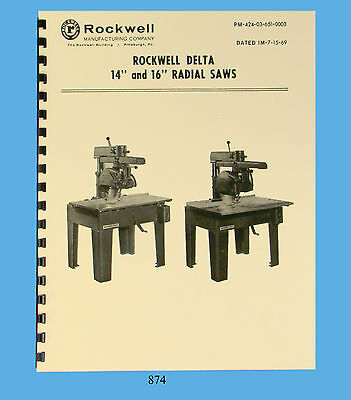 Rockwell Delta 14 16 Radial Saw Operator And Parts List Manual  874