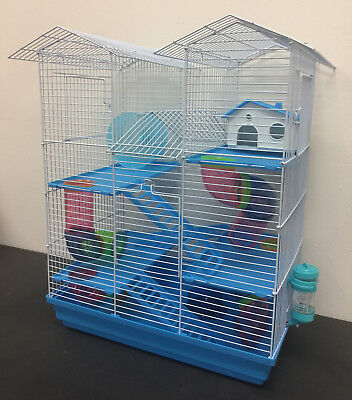 5 Level Large Twin Tower Syrian Hamster Habitat Gerbil Degu Mice Rats Cage 502