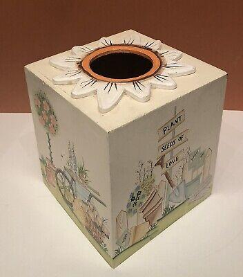Wooden Cube Tissue Box Cover Garden