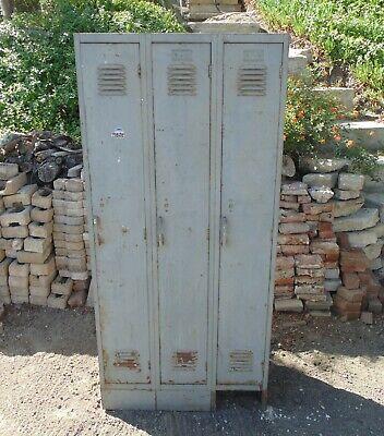 Locker Vintage Industrial Steel Metal Triple Unit Gym School Storage Rustic