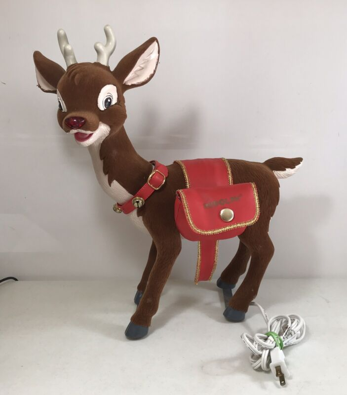 Vintage Telco Flocked Rudolph Red Nosed Reindeer MOVES MUSIC Indoor Decoration