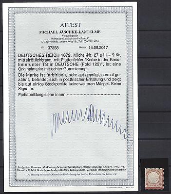819# DR Mi 27a** postfrisch mit PF III, Attest Jäschke L. BPP, MI ca. 3750€