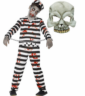 Zombie Monster Convict Prisioner Kids Childs Halloween Fancy Dress Costume+ MASK](Prisioner Costumes)