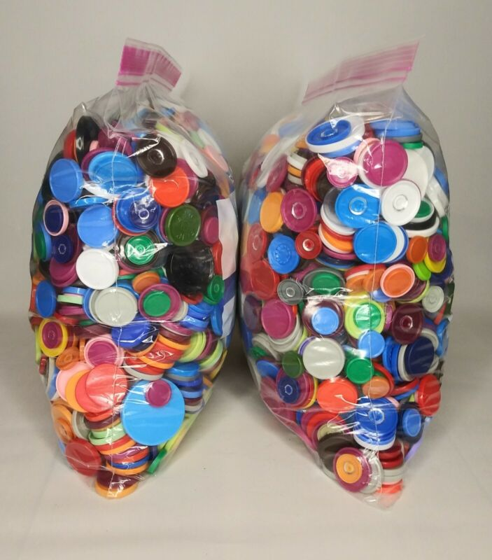 Huge Lot  Hundreds Of Flat Plastic Caps For Crafting Crafts Assorted Colors