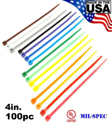 "Color Zip Cable Ties 4"" 18lbs 100pc Made in USA Nylon Wire Tie Wraps"