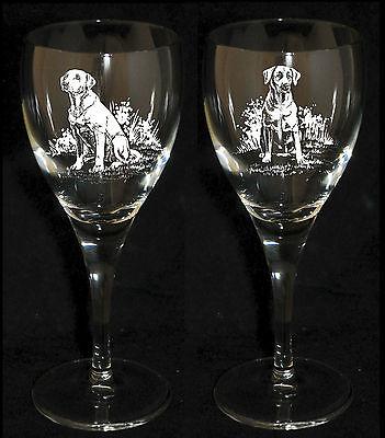 LABRADOR RETRIEVER GIFT - Boxed  PAIR WINE GLASS *DOG GIFT*