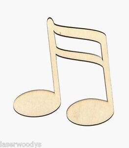 Musical-Double-Notes-Unfinished-Flat-Wood-Shapes-DMN111-Variety-Sizes-Crafts