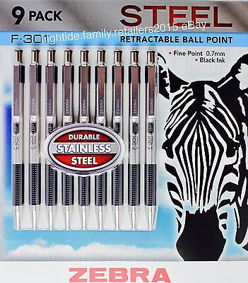 Zebra F-301 Steel Retractable Ball Point Pens Fine Point 0.7mm Black Ink 9 Pack