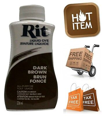 Rit Dye Liquid Fabric Dye 8 oz for Clothes Garments Crafts Paper Wood Dark Brown