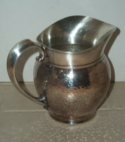 VINTAGE METAL HAMMERED WATER PITCHER ~ VERY GOOD