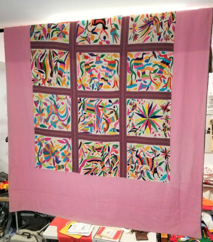 Vintage Otomi Embroidery Blanket Mexican Tapestry BOHO Folk Art Textile