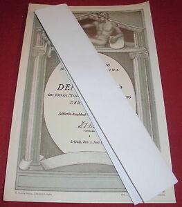 alte urkunde sportfest vfb leipzig athletik ausschuss 100m mallaufen 1923 papier