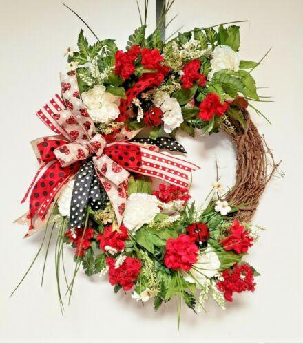 Ladybug Grapevine Wreath, Summer Wreath, Front Door Wreath, Spring Wreath
