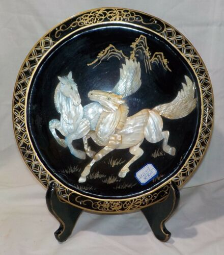 Black Lacquer Mother of Pearl Horses Plate and Stand Estate Item