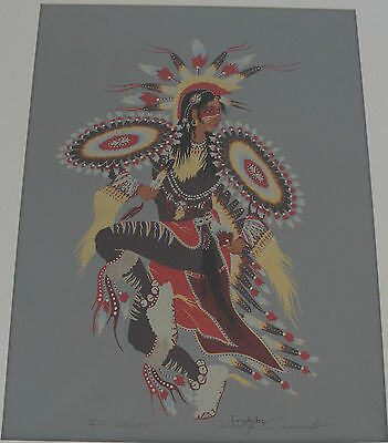 Woody Crumbo Native Potowatomi pencil signed TAIL DANCE large Silk Screen Print