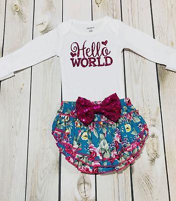 Newborn outfit floral, hello world newborn shirt, baby showe
