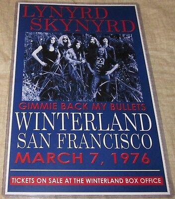 LYNYRD SKYNYRD 1976 WINTERLAND BALLROOM REPLICA CONCERT POSTER W/SLEEVE