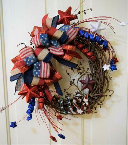 Handmade* Americana/ Patriotic Wreath*  *Red, Blue, Burlap* Star* Flag*