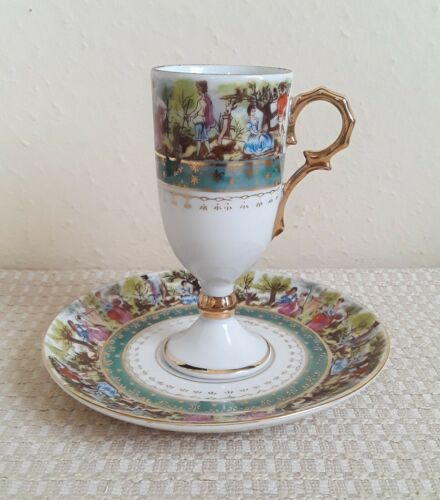 Royal Vienna Hand Painted Porcelain Tea Cup & Saucer Gold 11/1455