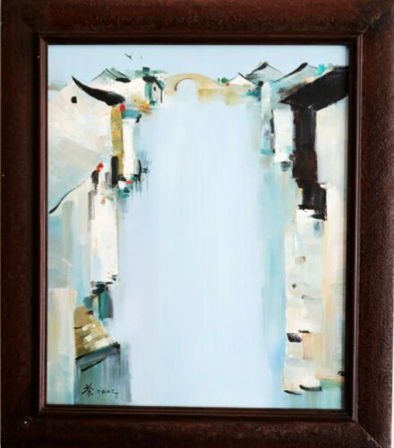A CHINESE OIL PAINTING SIGNED WU GUANZHONG
