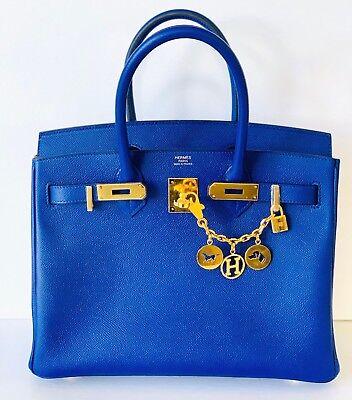 Hermes Blue Electric Birkin Bag 30cm Epsom Gold 19yrs on eBay Price Firm