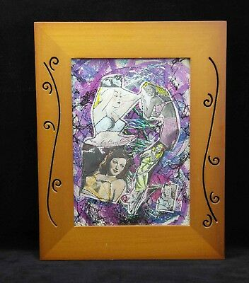 """Curve Control"" Mixed Media  5X7 framed original art by Char Busse"
