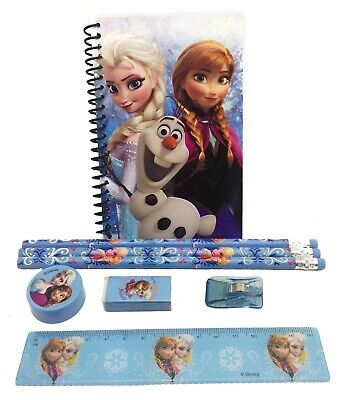 Disney Blue Frozen Stationary Set Back to School Supplies for Kids 8 Pieces (Stationary For Kids)