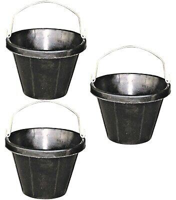3 Pack 2 Gallon 8 Quart Rubber Feed Buckets No Freeze Crush Livestock Sheep Goat