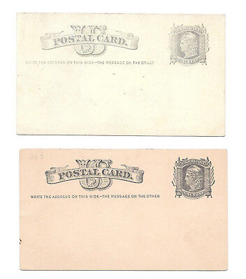 2 UX5 Postal Stationery Cards Liberty Unused Pale Gray on White Gray on Buff