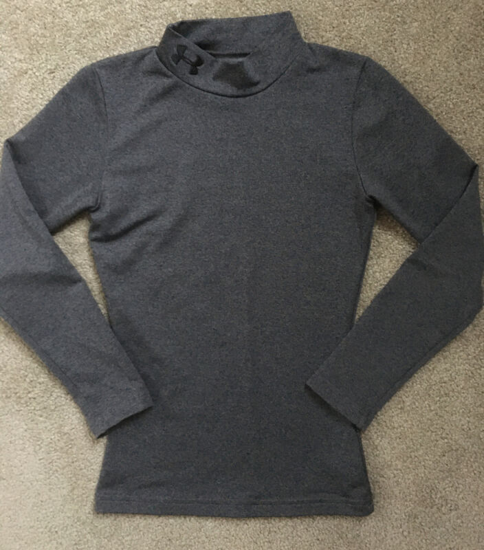 Youth Under Armour Size XS Gray Coldgear Fitted Mock Turtleneck Shirt