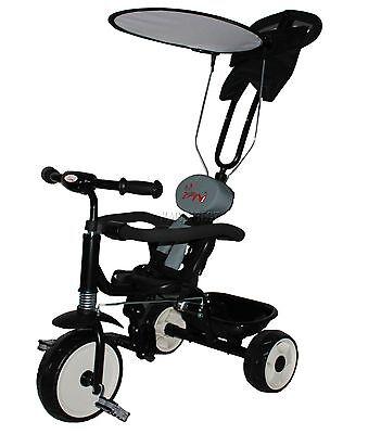 FoxHunter Child Kids Trike Tricycle 3 Wheel 4 In 1 Ride Bike Parent Handle Black