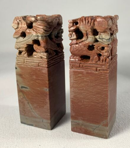 Pair of Chinese Carved Dragon Red Soapstone Seals Stamps