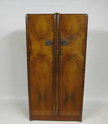 VINTAGE WALNUT VENEER WARDROBE WITH DRAWERS & SHELVING