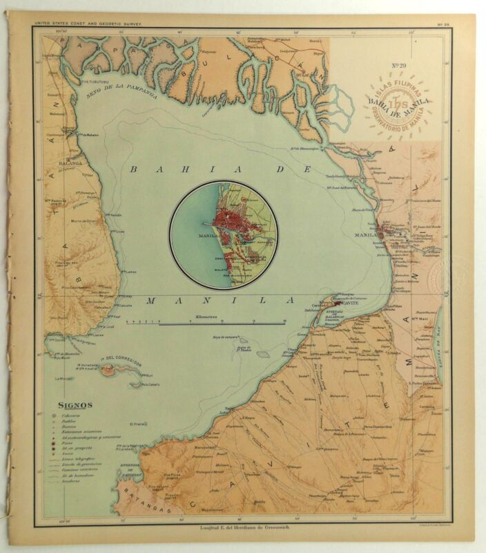 1899 Official US Navy Map Philippine Islands Bahia De Manila Cavite Bulacan